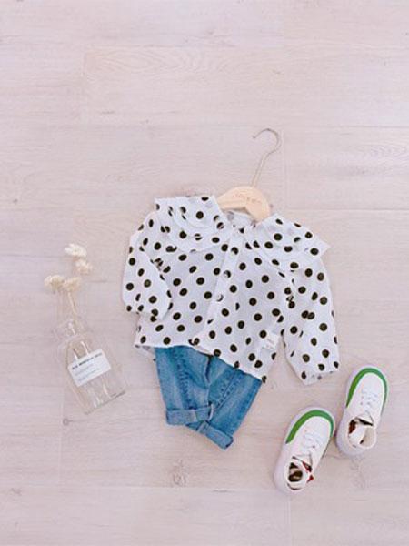 棉朵童装品牌2019春夏波点衬衫纺大翻领长袖娃娃衫