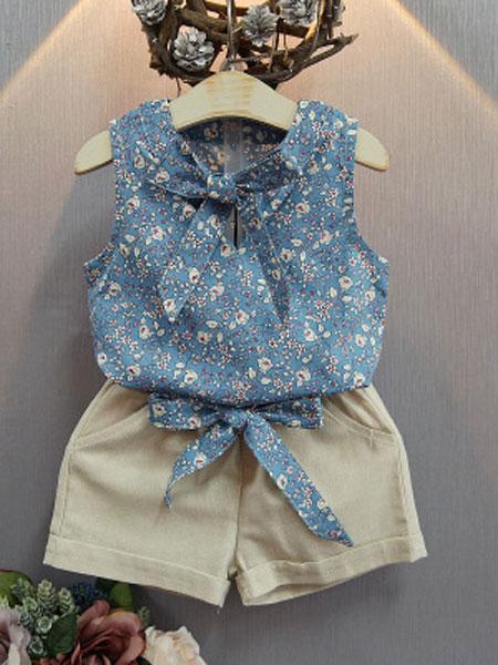 静依童装品牌2019春夏儿童两件套短袖短裤