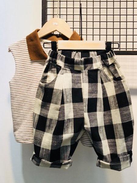 亲爱的小孩童装品牌2019春夏格子七分裤