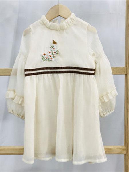 亲爱的小孩童装品牌2019春夏雪纺长袖刺绣连衣裙