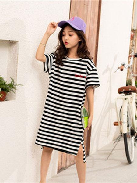 亲爱的小孩童装品牌2019春夏韩版短袖纯棉裙子