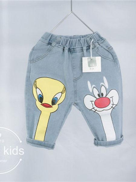 亲爱的小孩童装品牌2019春夏卡通裤腿牛仔裤