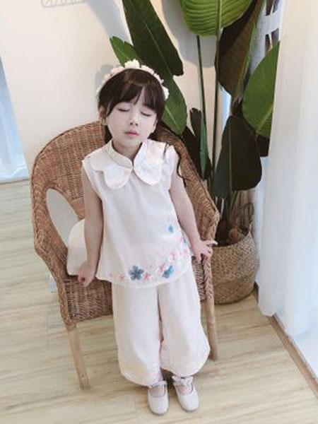 MINI MOON童装品牌2019春夏花朵刺绣汉服套装汉服两件套