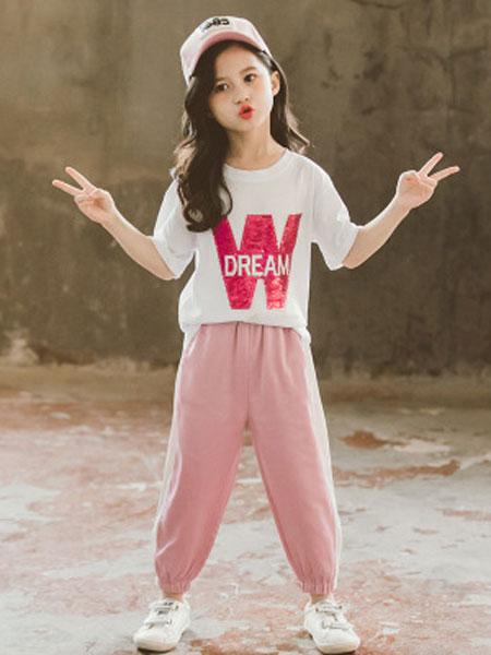 巧乐虎童装品牌2019春夏中大童韩版时尚两件套洋气
