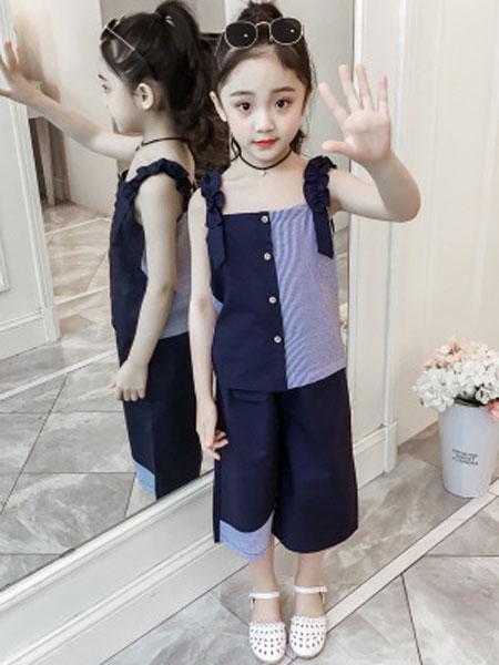 巧乐虎童装品牌2019春夏时尚吊带阔腿裤两件套女