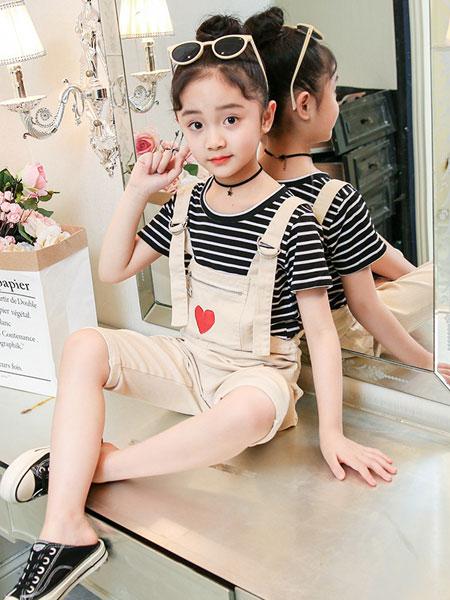 巧乐虎童装品牌2019春夏洋气条纹短袖两件套潮