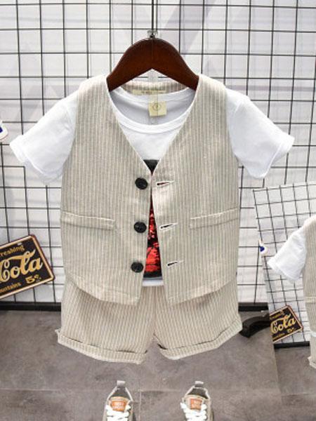 CHIUYA/钊溢童装品牌2019春夏中小童条纹2件马甲套装