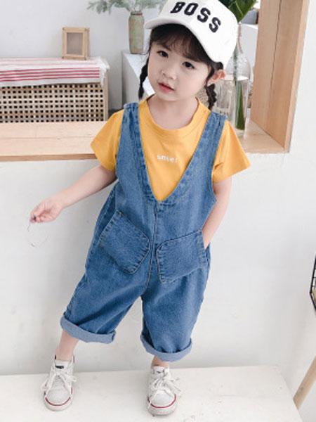 永福来童装品牌2019春夏女童牛仔背带裤