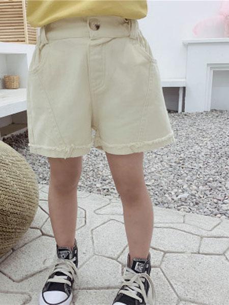 永福来童装品牌2019春夏牛仔短裤纯色潮热裤