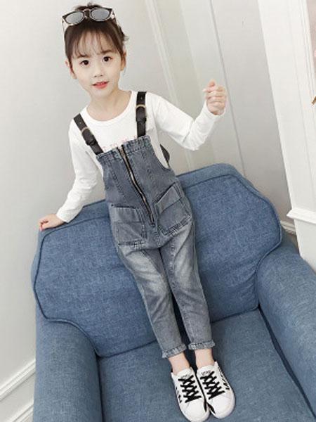 维木童装品牌2019春夏韩版双口袋黑皮带背带裤