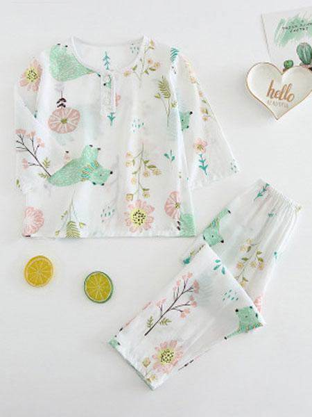 维可淇童装品牌2019春夏睡衣套装宝宝长裤长袖防蚊服