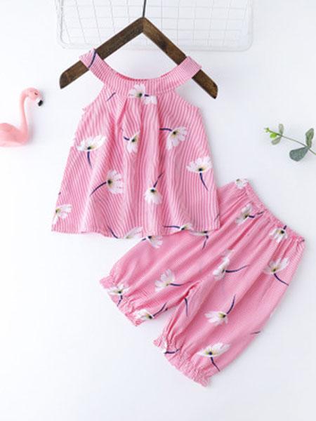 维可淇童装品牌2019春夏绵绸无袖短裤薄空调家居服