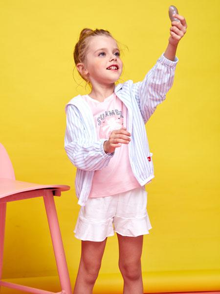 小鲨诺拉童装品牌2019春夏时尚条纹外套
