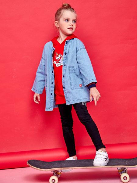 小鲨诺拉童装品牌2019春夏时尚牛仔外套