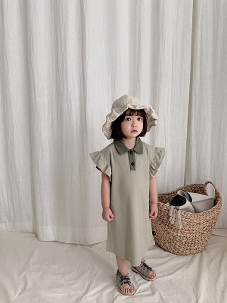 童尛童装品牌2019春夏中长款短袖棉t恤宝宝连衣裙