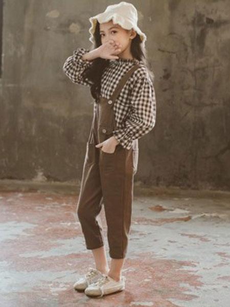 喆思喆童装品牌2019春夏儿童背带裤小女孩格子衬衫两件套