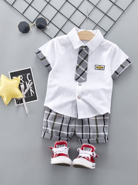 稚伊魔坊童装品牌2019春夏领带短袖衬衫短裤套装