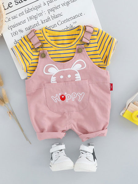 泽烨童装品牌2019春夏韩版儿童套装棉老鼠背带套装