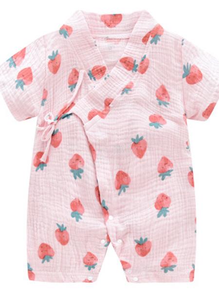 哈尼仔童装品牌2019春夏纱布衣服和服汉服宝宝短袖睡衣儿童爬服