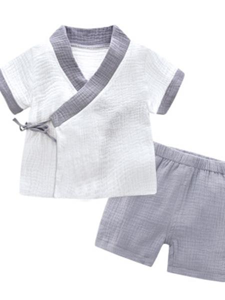 哈尼仔童装品牌2019春夏纱布和服宝宝绉布短袖短裤系带