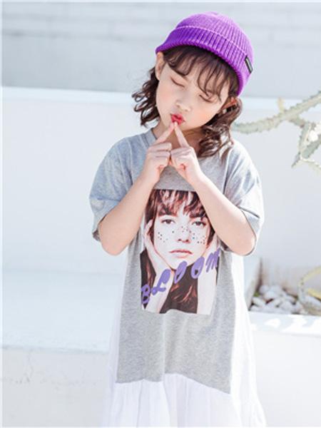 花田彩,丫噜丫噜、大c童装品牌2019春夏灰色中长T恤