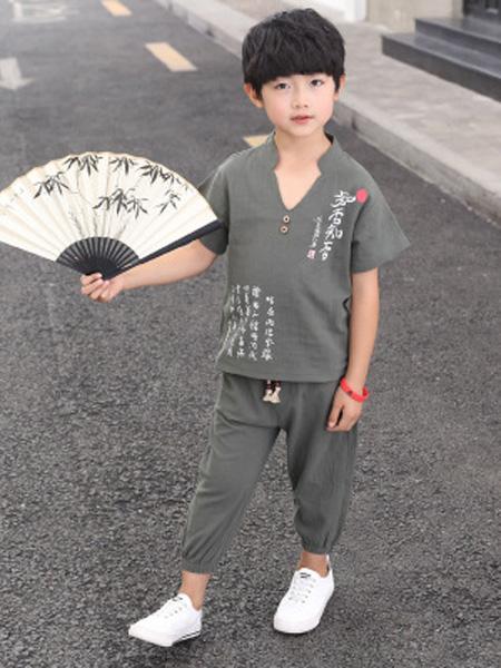 兵兵仔童装品牌2019春夏中国风唐装印花两件套裤套装