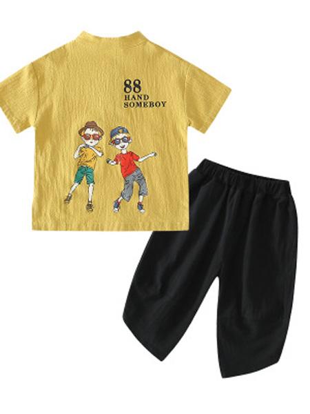 兵兵仔童装品牌2019春夏个性休闲运动短袖两件套装