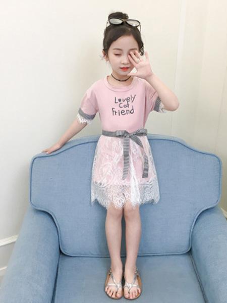 依珊恋童装品牌2019春夏纯棉蕾丝字母短袖两件套潮