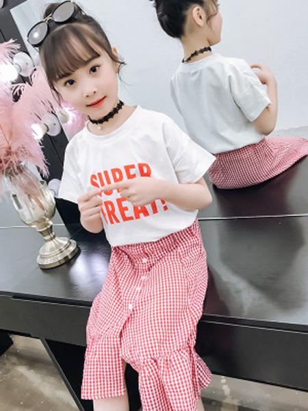 依珊恋童装品牌2019春夏儿童鱼尾裙+短袖上衣两件套