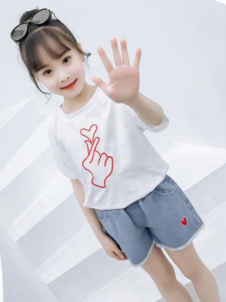 依珊恋童装品牌2019春夏牛仔短裤套装两件套
