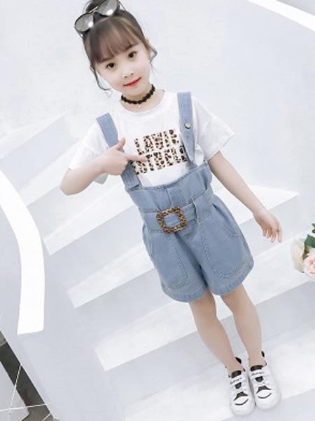 依珊恋童装品牌2019春夏洋气牛仔背带裤+短袖俩件套