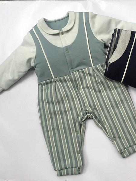欧米瑞童装品牌2019春夏男童绅士连体衣纯棉短袖
