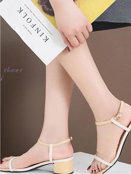 皇妹童鞋品牌2019春夏新款百搭粗跟透明凉鞋