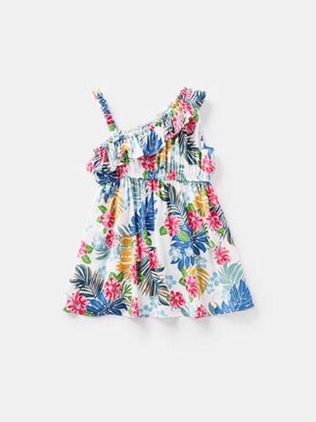 ELLE baby童装品牌2019春夏女童吊带连衣裙小童露漏肩沙滩裙