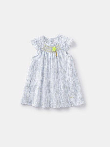 ELLE baby童装品牌2019春夏韩版女童小碎花针织棉短袖连衣裙