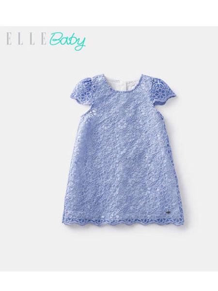 ELLE baby童装品牌2019春夏新款短袖A字凸纹蕾丝连衣裙