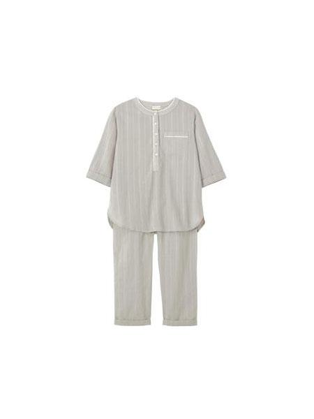 FAUNE童装品牌2019春夏亚麻条纹口袋7七分袖棉麻衬衣潮