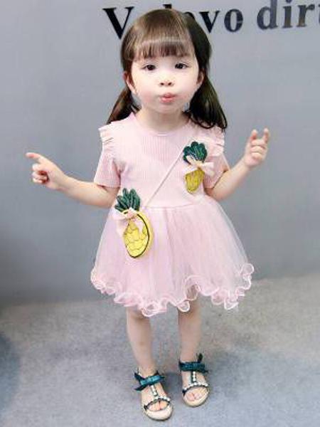 小韩豆童装品牌2019春夏新款菠萝包婴儿裙子
