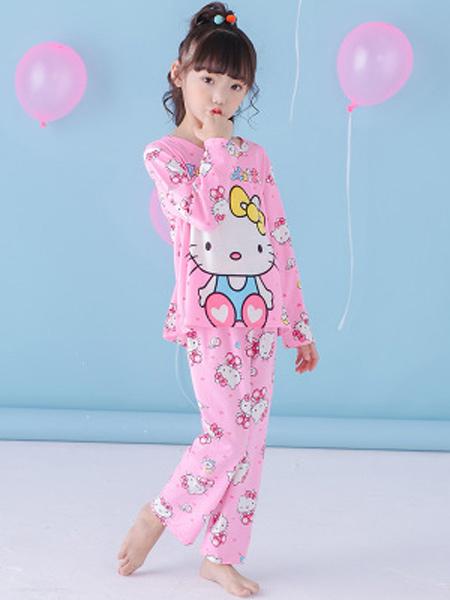 佰俏儿童装品牌2019春夏新款长袖睡衣套装可爱小新卡通