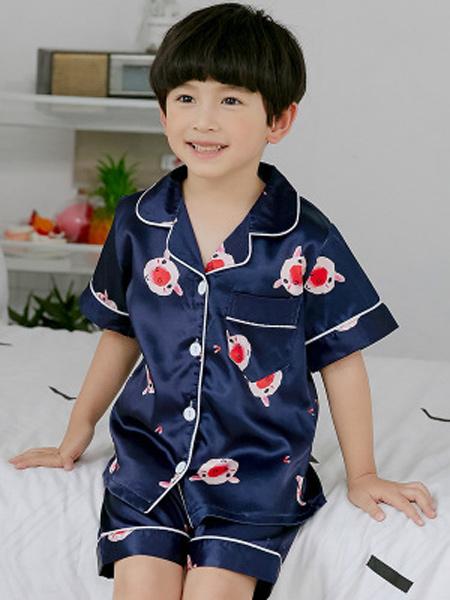 佰俏儿童装品牌2019春夏新款睡衣薄款短袖小孩家居服套装