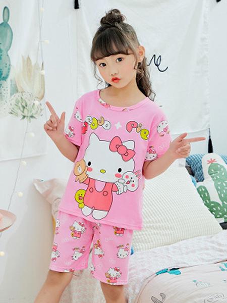 佰俏儿童装品牌2019春夏新款时尚短袖睡衣套装
