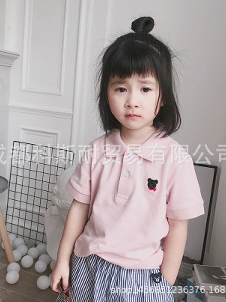 大M/CI童装品牌2019春夏新款韩版可爱刺绣小熊翻领纯色休闲短袖上衣