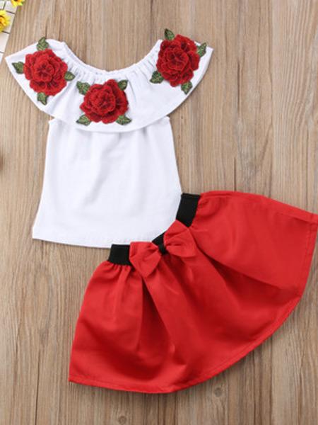 升辉童装童装品牌2019春夏新款刺绣玫瑰花上衣蝴蝶结蓬蓬裙女童两件套