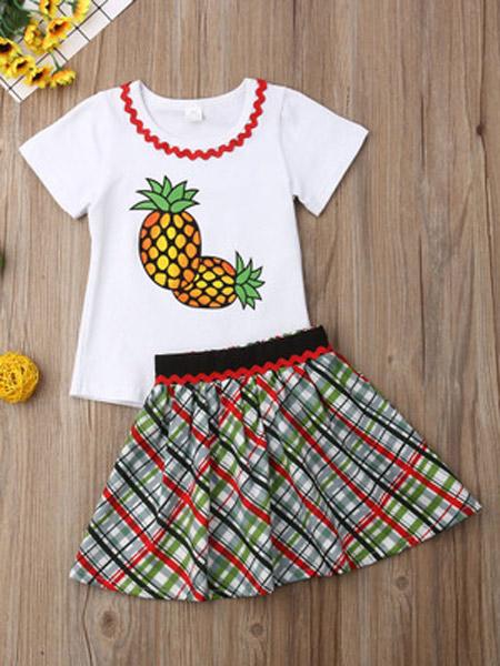 升辉童装童装品牌2019春夏新款圆领短袖菠萝印花上衣格纹裙子女童套装