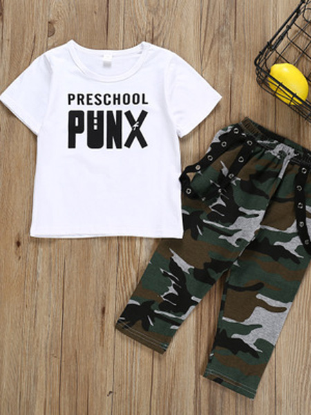 升辉童装童装品牌2019春夏新款时尚字母短袖T恤迷彩长裤两件套