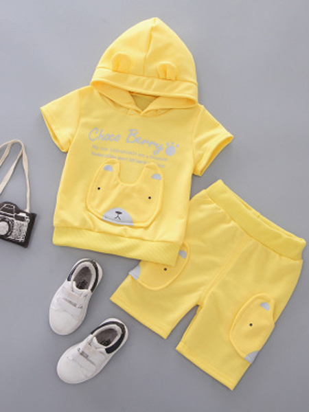 裕恩童装品牌2019春夏新款短袖宝宝中裤纯棉韩版套装