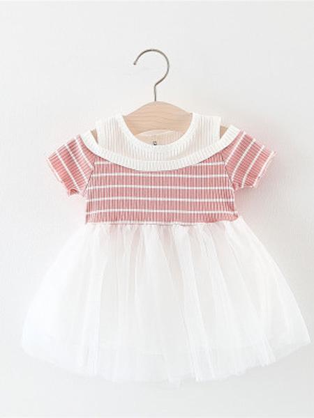 裕恩童装品牌2019春夏新款宝宝条纹短袖公主纱裙