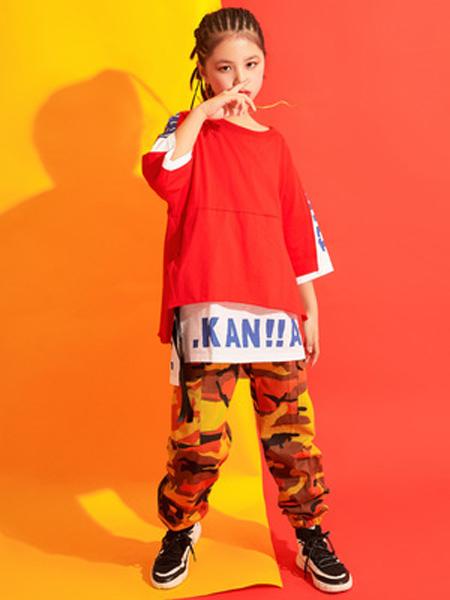 戊寅童装品牌2019春夏少儿街舞童装儿童短袖宽松黑白色嘻哈运动街头套装舞蹈服