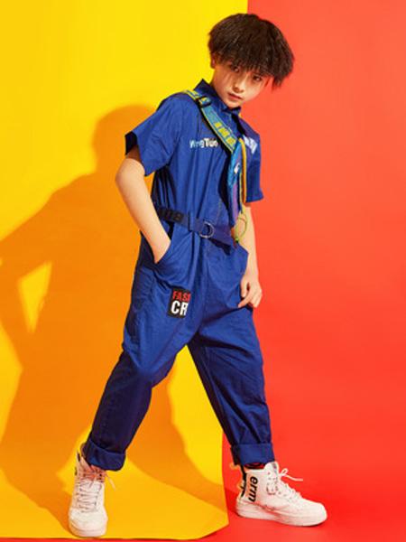 戊寅童装品牌2019春夏街舞表演服少儿男女童连体工装短袖嘻哈