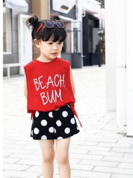 甜蜜小屋童装品牌2019春夏新款儿童韩版无袖背心字母T恤上衣